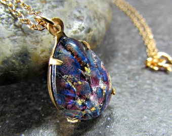 Purple Opal Necklace- Sterling Silver or 14K Gold Filled Chain- Teardrop Pendant- Czech Glass Harlequin Opal Jewelry- Christmas Gift for Mom
