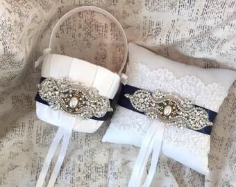 Navy Blue Flower Girl Basket, Navy Ring Bearer Pillow, Vintage Ring Pillow, Vintage Flower Girl Basket, You design, Flower Girl Basket