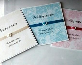 "Wedding invitation ""Emma"" heart invitation, Damask"