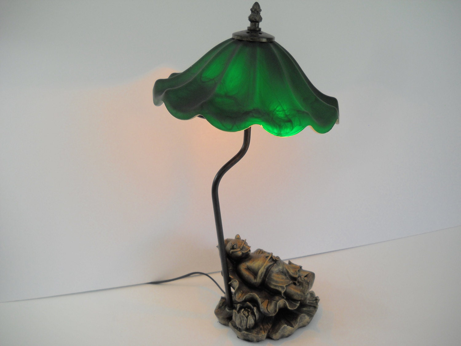 frog lamp with green glass ripple shade. Black Bedroom Furniture Sets. Home Design Ideas