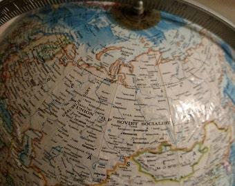 Large Vintage Rand McNally World Globe, International Globey from 1980's 1984