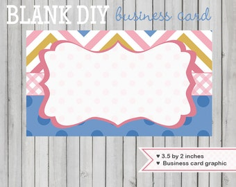 Business card design graphic blank DIY template instant download gold pink chevron