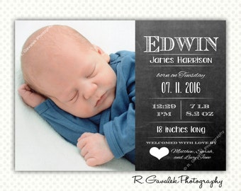 Chalkboard Birth Announcement with Photo, Printable Baby Card, Gender Neutral Birth Announcement, Introducing Baby Announcement