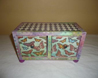 Butterfly 2 drawer Jewelry, keepsake, trinket Chest