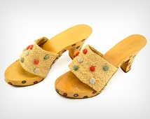 50s Shoes // 1950's Wooden, Straw, and Hand-Painted Polkadot Mules // Vintage High Heels