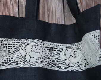 Black Linen Tote Bag with Linen Lace