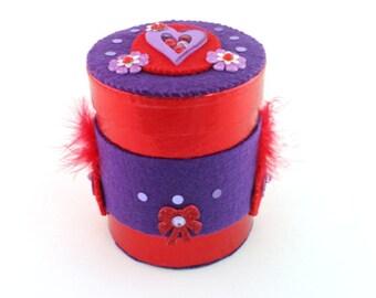 Valentines Day Decor - Red Round Box - Purple Heart Decor - Decorated Gift Box