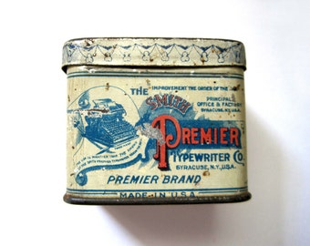 Premier Typewriter Tin, c. 1930s Rectangle Tin Box, Cream and Orange, Antique Typewriter Tin Graphic, Small Box, Office Storage