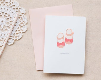 Newborn Baby Girl Card  |  Booties in Pink