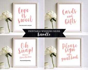 Printable Wedding Signs Set, 8 x 10 Wedding Sign Set, 8 x 10 Sign Template, DIY Printable Wedding Signs, Pink Peach, PDF Download, MM03-9