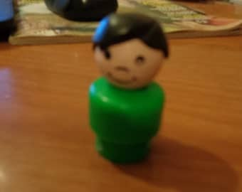 Vintage Fisher Price Little People Play Family Boy Black Molded Hair Green Plastic Base
