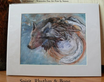 """Soul Journey - 11"""" x 14"""" - Fine Art --- Color Matched Print - Ready to Frame WolfWalking Series by Sonara"""