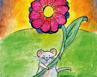 "Handmade postcard with little mouse//""it's the little things that matter""//nice to give"