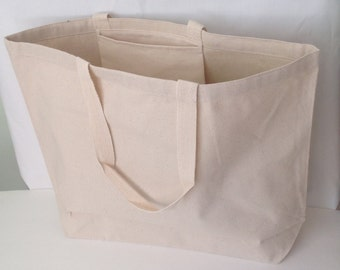 Extra large Natural 12oz plain canvas tote, canvas tote, pocket plain canvas tote, durable blank tote, heavy duty market tote