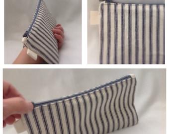 Blue ticking fabric pencil case, fabric bag, sturdy coin purse, zipper pencil case, ykk zipper canvas pouch, blue strip pencil case