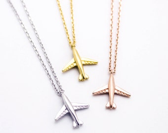 Airplane gold plated necklace pretty, lovely, cute jewelry
