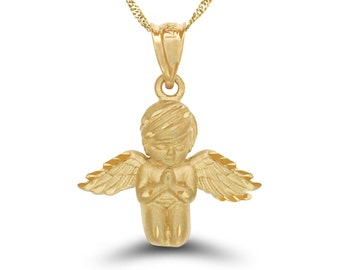 "14k solid gold praying angel pendant with 18"" solid gold chain. angelic jewelry, angel jewelry."