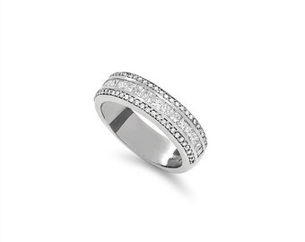 14k solid white gold 1.01ctw diamond band. diamond wedding band.