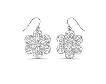 Sterling Silver Flower Hook Earrings. 65% off regular price.