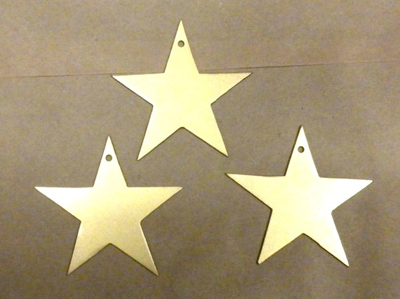 Lot Set Of 3 Gold Stars 3 Inch Metal Art Ornament Magnet