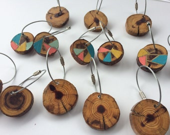 Cedar Wood Keychains, Handmade, Wooden Keychain, Wood Keychains, Cable Wire Keychain, Cable Wire, Hand Painted, Wood Slice, Steel Cable Wire