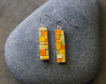 Mosaic Earrings: Golden Yellow Bling