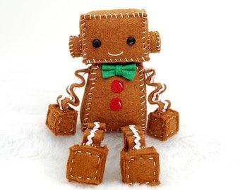 Gingerbread Man Robot Plush - Holiday and Christmas Gift Idea