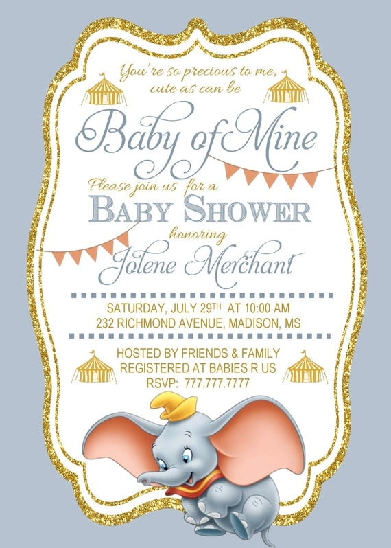 diy printable baby shower invitation baby of mine dumbo baby