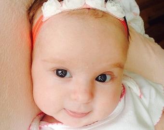 Coral White Rose Elastic Headband Child Newborn Baby