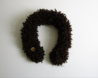 Poodle Yarn Ruffle scarf, Knitted scarf, Fashion scarf, Knit Fluffy Scarf, Brown scarves, Dark Brown, Autumn scarf, Winter accessories