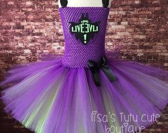 Mal tutu dress. Long live evil. Purple and green tutu. maleficent tutu. Mal costume. Mal tutu, Descendants tutu, Descendants party.