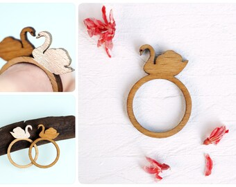 Swan, swan ring, be in love with life, wood ring laser cut, finger ring bird, animal ring, wood jewelry, laser cut jewelry, wooden ring