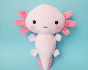 Axolotl plush toy - Stuffed toy axolotl - axolotl softie - Plush salamander - Mexican salamander axolotl plushie - kawaii axolotl - handmade