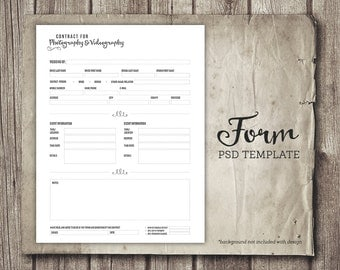 Photography template, Photography Contract, Photography forms, Template for Photographers, Photoshop template, PSD file