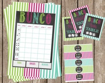Printable Bunco Score Sheet- Printable Bunco Table Labels-Bunco Water Bottle Labels-Printable Chalkboard Bunco Set