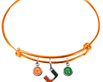 Miami Hurricanes COLOR EDITION Wire Charm Expandable Bangle Bracelet w/ Orange & Green Crystal Rhinestone Charms - Pick Your Color