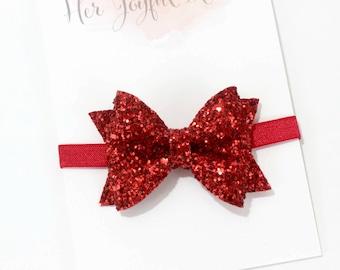 Red glitter bow - red glitter headband, glitter headband, glitter bow, christmas headband, christmas bows, holiday headband, red headband