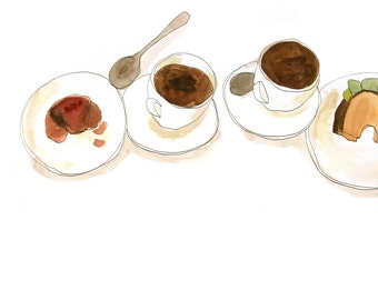 """Print of a drawing """"Coffeetime"""", DIN A 4, breakfast, cupofcoffee, cafe"""
