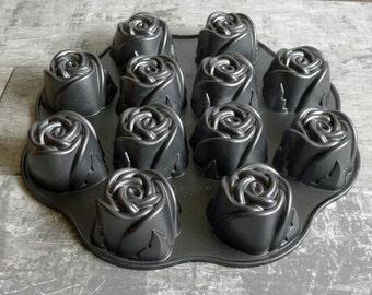 NordicWare Bakeware Sweetheart Rose Muffin Pastry Baking Pan