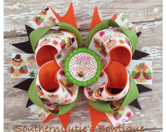 Gobble Gobble Stacked Boutique Hairbow
