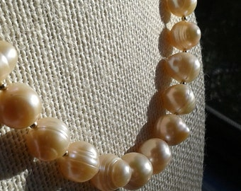 14k Gold-filled & Large Peach Freshwater Pearl Necklace, Wedding Jewelry, Bold, Bridal, Classic, Timeless FREE USA SHIPPING