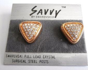 Savvy by Swarovski Post Earrings Gold-tone with Swarovski Crystals New