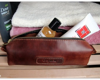 Leather men's toiletry bag /Personalized gif / Leather dopp Kit /Groomsman Gift /Wedding gift for groomsman /FREE Personalization
