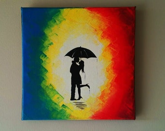 Original Couple in rain painting,Couple kissing in the rain wall art, red umbrella painting,couple silhouette painting,Kiss art 12x12