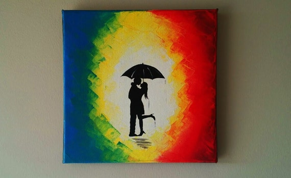 Original Couple In Rain PaintingCouple Kissing The