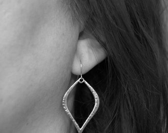 silver marquise earrings, simple silver earrings,  silver teardrop earrings, gift for her, everyday earrings