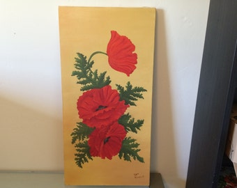 Vintage Oil Painting - red poppies on yellow background - 24x12 inches - great condition