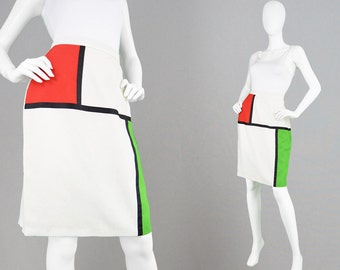 Vintage 80s Mondrian Skirt Colorblock Skirt White High Waist Skirt Space Age Futuristic Skirt Geometric Print 1960s Style Skirt Art Print