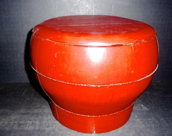 50% 0FF-  Oriental Red Lacquer stool/storage container-