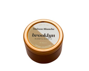 Brooklyn Travel Candle. Hand-poured. 15 hr burn time